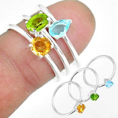 3.28cts natural green peridot citrine 925 silver 3 rings size 7 r92451