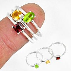 2.81cts natural green peridot citrine 925 silver stackable ring size 7 r79849