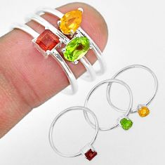 2.52cts natural green peridot citrine 925 sterling silver 3 rings size 8 r93141