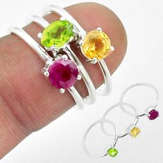3.28cts natural green peridot citrine ruby 925 silver 3 rings size 6 t50902