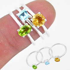 3.23cts natural green peridot citrine topaz 925 silver 3 rings size 6 r93040