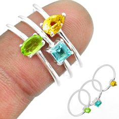 2.71cts natural green peridot citrine topaz 925 silver 3 rings size 6.5 t51139