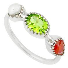 3.50cts natural green peridot cornelian (carnelian) silver ring size 8 r68822