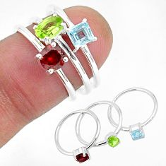 3.14cts natural green peridot garnet 925 sterling silver 3 rings size 6 r93045
