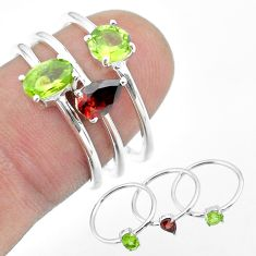 2.81cts natural green peridot garnet 925 sterling silver 3 rings size 6.5 t51089