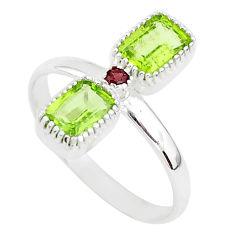 2.76cts natural green peridot garnet 925 sterling silver ring size 10 t5582
