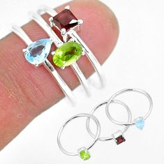 2.91cts natural green peridot red garnet 925 silver 3 rings size 8.5 r93089