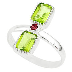 3.18cts natural green peridot red garnet 925 sterling silver ring size 9 t5581