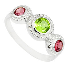 2.57cts natural green peridot red garnet round 925 silver ring size 8 r83919