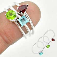 2.97cts natural green peridot red garnet topaz 925 silver 3 rings size 7 t51126