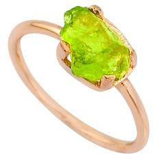4.07cts natural green peridot raw 925 silver 14k rose gold ring size 7 r70628
