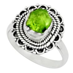 3.83cts natural green peridot rough 925 silver solitaire ring size 8.5 r52363