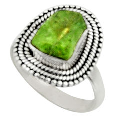 4.92cts natural green peridot rough 925 silver solitaire ring size 7.5 r52371