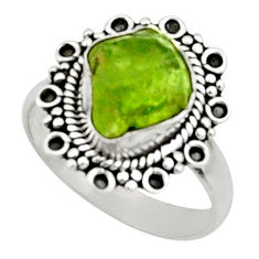 4.69cts natural green peridot rough 925 silver solitaire ring size 7.5 r52381