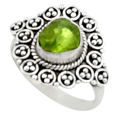3.83cts natural green peridot rough 925 silver solitaire ring size 8.5 r52382
