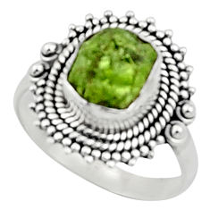 4.40cts natural green peridot rough 925 silver solitaire ring size 8.5 r52383