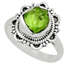 4.82cts natural green peridot rough 925 silver solitaire ring size 7.5 r52387