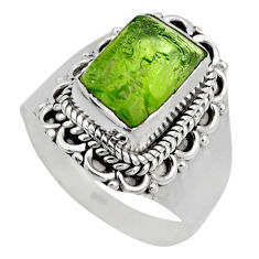 4.52cts natural green peridot rough 925 silver solitaire ring size 7.5 r53385