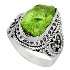 5.52cts natural green peridot rough 925 silver solitaire ring size 6.5 r53386