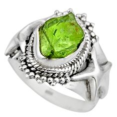 5.31cts natural green peridot rough 925 silver solitaire ring size 7.5 r53387