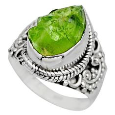 5.52cts natural green peridot rough 925 silver solitaire ring size 6.5 r53390