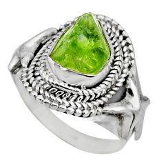 5.30cts natural green peridot rough 925 silver solitaire ring size 7.5 r53394