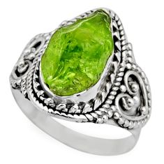 6.02cts natural green peridot rough 925 silver solitaire ring size 7.5 r53395
