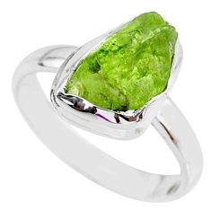 6.04cts natural green peridot rough 925 silver solitaire ring size 8.5 r64063