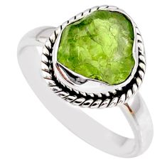 6.38cts natural green peridot rough 925 silver solitaire ring size 8.5 r64071