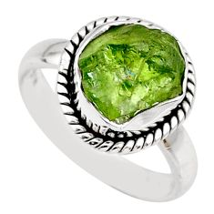 5.84cts natural green peridot rough 925 silver solitaire ring size 6.5 r64076