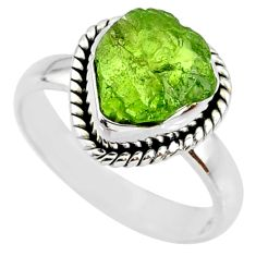 4.82cts natural green peridot rough 925 silver solitaire ring size 6.5 r64086