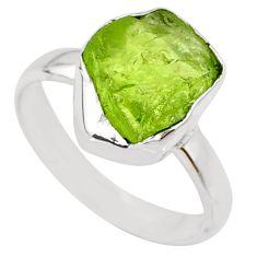 5.21cts natural green peridot rough 925 silver solitaire ring size 6.5 r64091