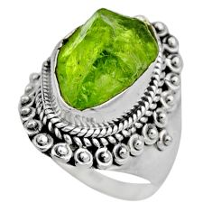 6.58cts natural green peridot rough 925 silver solitaire ring size 6 r53391