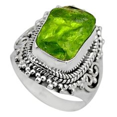 6.16cts natural green peridot rough 925 silver solitaire ring size 6 r53397