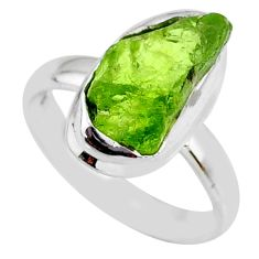 6.22cts natural green peridot rough 925 silver solitaire ring size 6 r64097