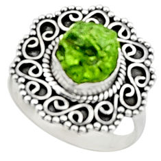 8.51cts natural green peridot rough 925 silver solitaire ring size 7 r52365