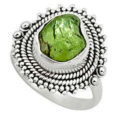 4.52cts natural green peridot rough 925 silver solitaire ring size 7 r52386