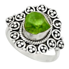 4.85cts natural green peridot rough 925 silver solitaire ring size 7 r52393