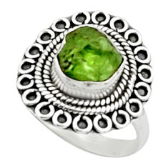 4.40cts natural green peridot rough 925 silver solitaire ring size 7 r52395