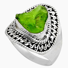 6.04cts natural green peridot rough 925 silver solitaire ring size 7 r53400