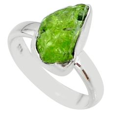 5.80cts natural green peridot rough 925 silver solitaire ring size 7 r64077