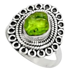 4.03cts natural green peridot rough 925 silver solitaire ring size 8 r52376