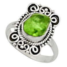 4.22cts natural green peridot rough 925 silver solitaire ring size 8 r52385