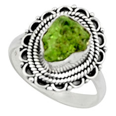 4.47cts natural green peridot rough 925 silver solitaire ring size 8 r52388