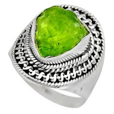 7.07cts natural green peridot rough 925 silver solitaire ring size 8 r53392