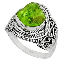6.31cts natural green peridot rough 925 silver solitaire ring size 8 r53398