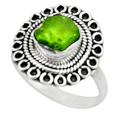 4.40cts natural green peridot rough 925 silver solitaire ring size 9 r52361