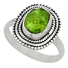 5.11cts natural green peridot rough 925 silver solitaire ring size 9 r52392
