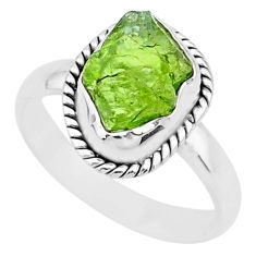 5.53cts natural green peridot rough 925 silver solitaire ring size 9 r72083