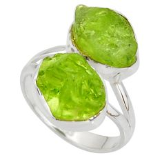 13.26cts natural green peridot rough 925 sterling silver ring size 7.5 r38249